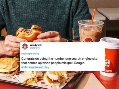 Wendy's food with twitter roast overlayed