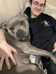 dog cuddles dad
