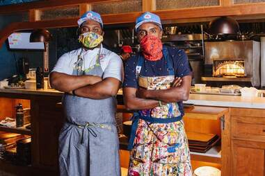 Derek Fleming and Marcus Samuelsson at Red Rooster