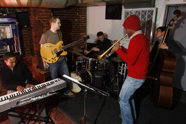 Jazz band, Public Option, performing at Wally's Cafe