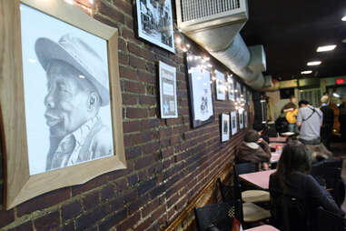 """A sketch of Joseph L. """"Wally"""" Walcott the founder of Wally's Cafe"""