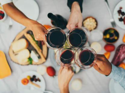 red wine in glasses for dinner