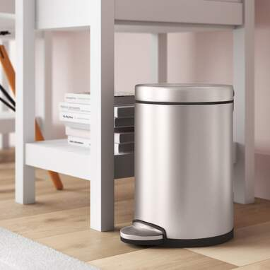 Simplehuman Steel Step-On 1.2 Gallon Small Trash Can