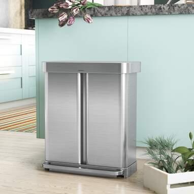 Simplehuman Steel Step-On 8.9 Gallon Dual Trash Can & Recycling Bin