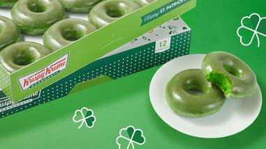 Green O'riginal Glazed Doughnuts at Krispy Kreme for St. Patrick's Day