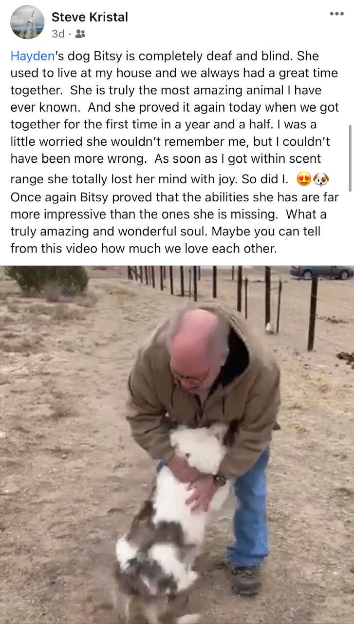 Blind dog reunites with grandpa