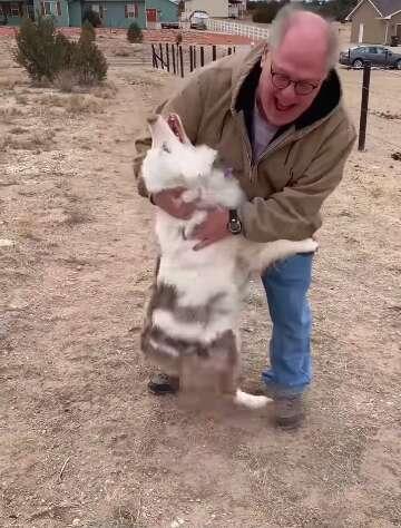 Grandpa reunites with dog