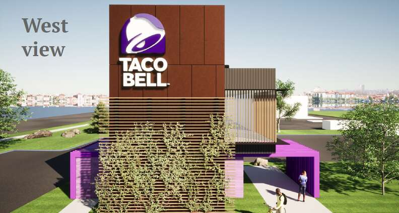 West view of Taco Bell design in Brooklyn Park, Minnesota