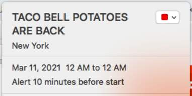 Taco Bell potatoes event reminder in iCal