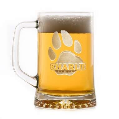 Personalized Dog Paw Print 23 oz. Glass Beer Mug (Set of 2)
