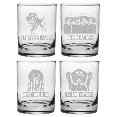Beagle 4-Piece 14 oz. Whiskey Glass Set