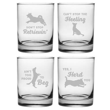 Clever Canines 4 Piece 14 oz. Whiskey Glass Set