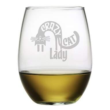 Crazy Cat Lady Stemless Wine Glass (Set of 4)