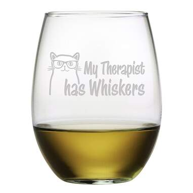My Therapist Has Whiskers Stemless Wine Glass (Set of 4)