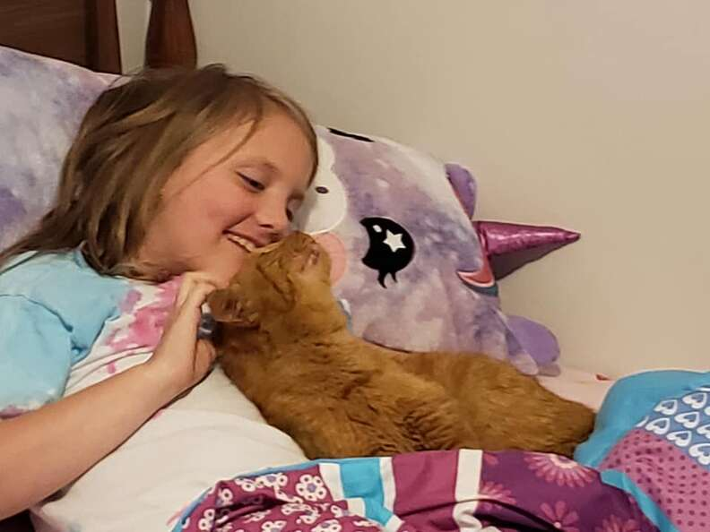Mom discovers random cat in daughter's bed