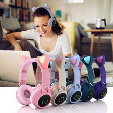 Cat Ear Bluetooth Headphones with LED Lights