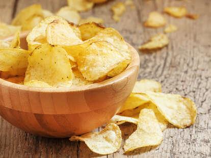 Crispy potato chips in a bowl for snack