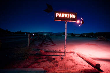 Parking lot at Pappy & Harriet's Pioneertown Palace