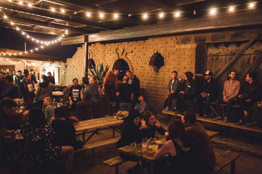 people in the beer garden at Pappy and Harriet's