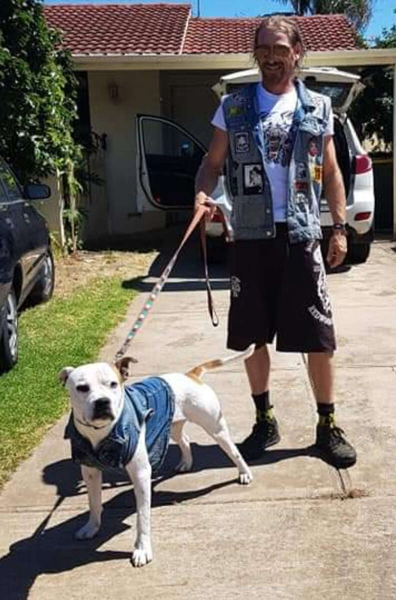 Hero dog with his dad