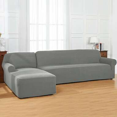 Bolee L-Shaped Jacquard Box Cushion Sofa and Chaise Lounge Slipcover