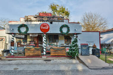 Exterior view of Royers Cafe in Round Top, TX