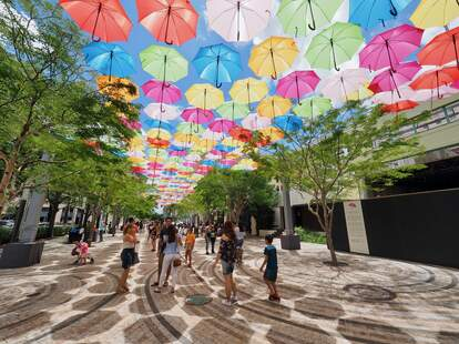 Umbrella Sky in Giralda Plaza in Coral Gables, Florida