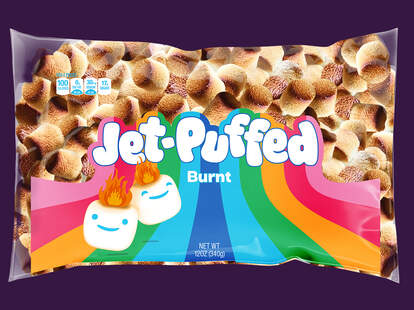 """A pack of Jet-Puffed """"Burnt"""" flavored marshmallows."""