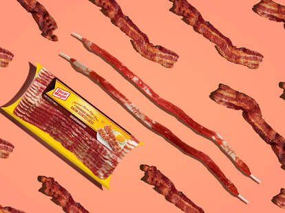 Oscar Mayer bacon and shoelaces designed to look like bacon.