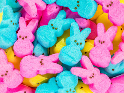 Peeps Easter bunny marshmallows in pink, blue, and yellow