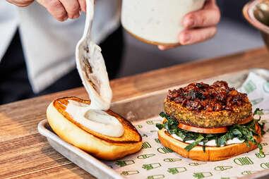Shake Shack x Pinky Cole's vegan SluttyShack burger