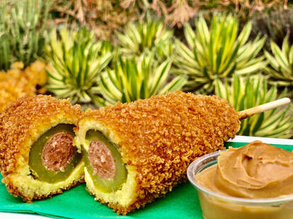 Disneyland dill pickle corn dog with peanut butter
