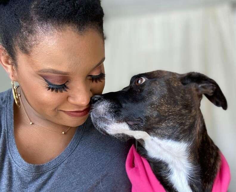 dog looks at mom