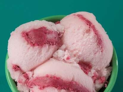 Baskin-Robbins' watermelon swirl sorbet.