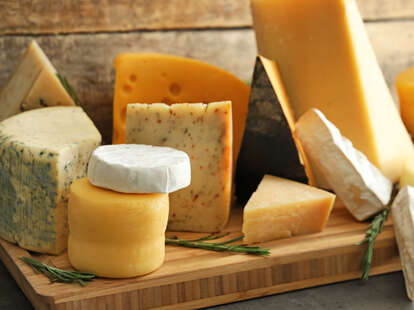 Variety of delicious cheeses and fridge life