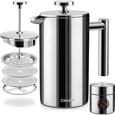 Mueller French Press Double Insulated 310 Stainless Steel Coffee Maker