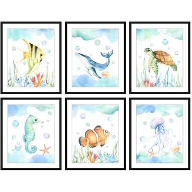 Bestbuddy Pet Set of 6 (8X10) Unframed Watercolor Sea Life