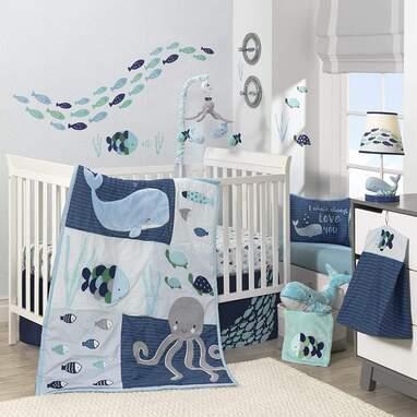 Lambs & Ivy Oceania 6-Piece Baby Crib Bedding Set