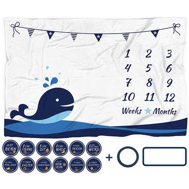Nautical Baby Monthly Milestone Blanket with 12 Stickers