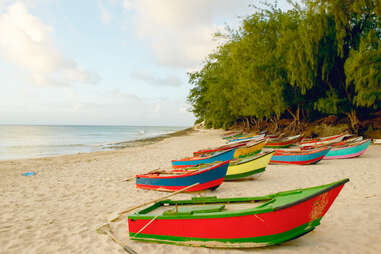 boats on Tofo Beach, Mozambique
