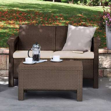 Keter Corfu Resin Wicker Loveseat with Outdoor Cushions