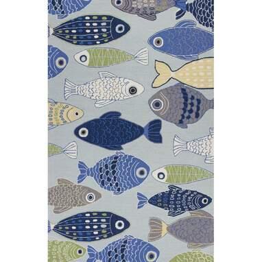 Burdick Sea Of Fish Hooked Light Blue Area Rug