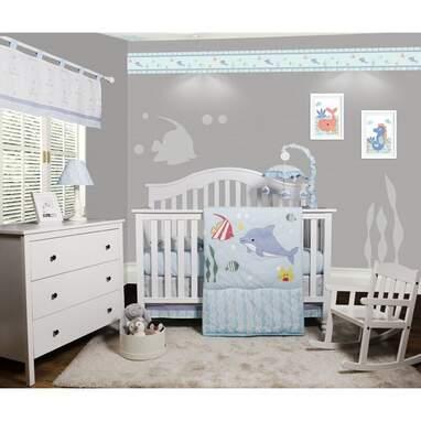 Ortonville Ocean Sea Dolphin Baby Nursery 5 Piece Crib Bedding Set