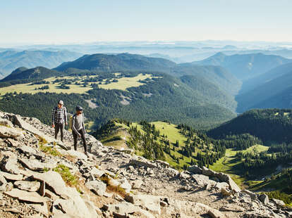 couple hiking on a mountain