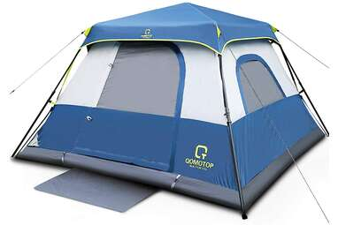 OT QOMOTOP 4-Person Camping Tent, Waterproof Pop Up with Rainfly & Advanced Venting Design