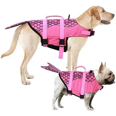 Aofitee Dog Life Jacket Pet Safety Vestfor Small Medium and Large Dogs (Pink Mermaid, XS)