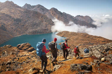mountain hikers in nepal