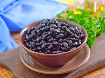Canned black beans in a bowl