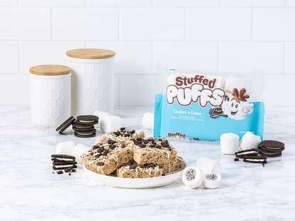 A bag of Stuffed Puffs cookies 'n creme marshmallows.