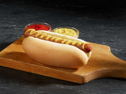 Nathan's Famous gourmet plant-based hot dog with mustard.